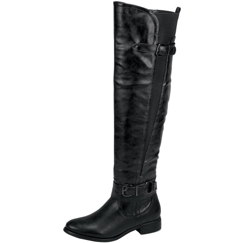 Womens Knee High Boots Elastic and Buckle Accent Casual Riding Shoes Black