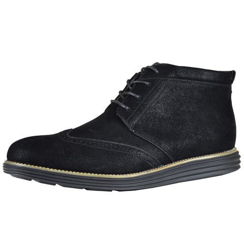 Mens Casual Shoes Lace Up Oxford High Top Derby Shoes black