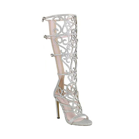 Womens Dress Sandals Caged Knee High Cut Outs Rhinestone Skinny Ladder Straps Silver
