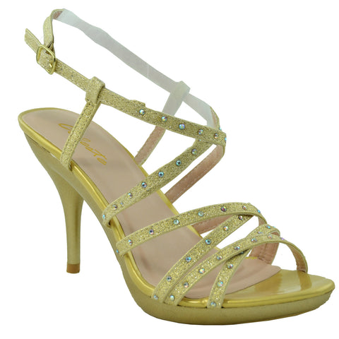 Womens Strappy Slingback High Heel Sandals Gold