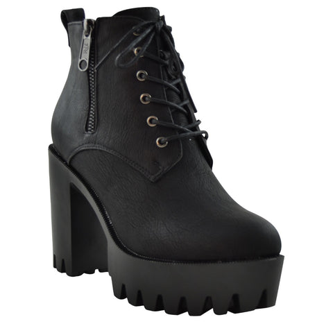 Womens Ankle Boots Chunky Heel Lace Up Platform Lug Shoes Black