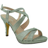 Womens Slingback High Heel Sandals Silver