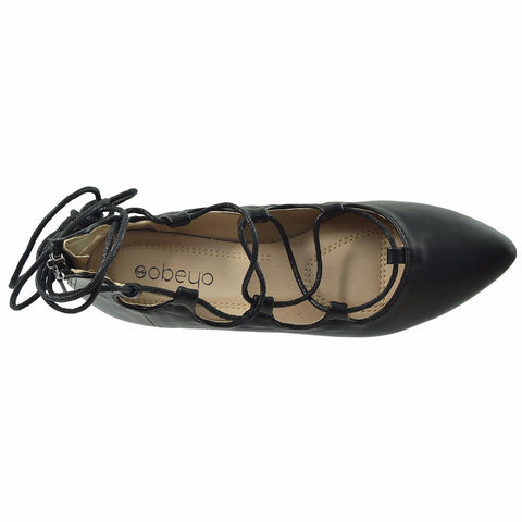 Womens Ghillie Lace Up Ballet Flats Black SOBEYO