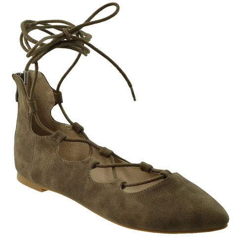 Womens Ghillie Lace Up Ballet Flats Brown SOBEYO