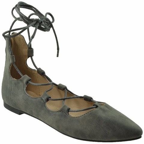 Womens Ghillie Lace Up Ballet Flats Gray SOBEYO