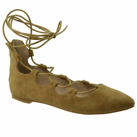 Womens Ghillie Lace Up Ballet Flats Tan SOBEYO