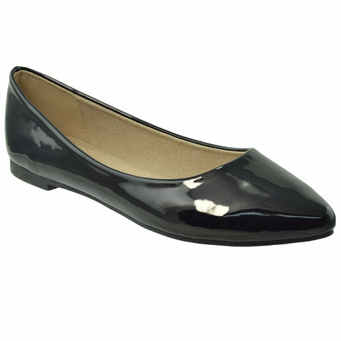 Womens Patent Leather Pointed Toe Ballet Flats Black SOBEYO