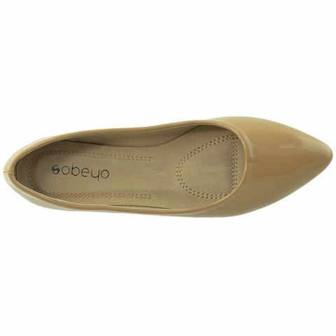 Womens Patent Leather Pointed Toe Ballet Flats Nude SOBEYO