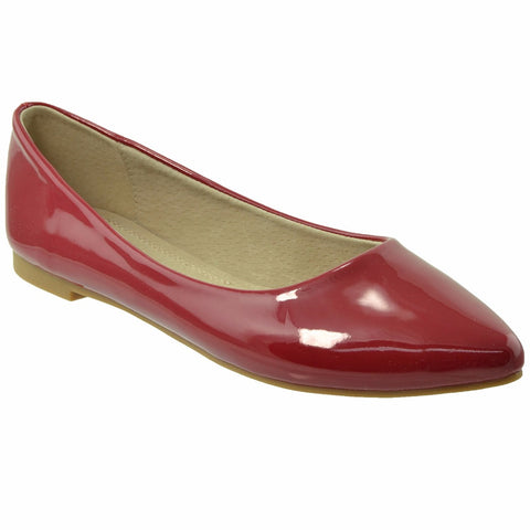 Womens Patent Leather Pointed Toe Ballet Flats Red SOBEYO