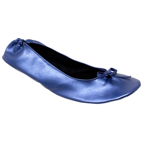 Foldable Ballet Flats Women's Travel Portable Comfortable Shoes Navy PU SOBEYO
