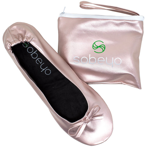Foldable Ballet Flats Women's Travel Portable Comfortable Shoes Gold PU SOBEYO