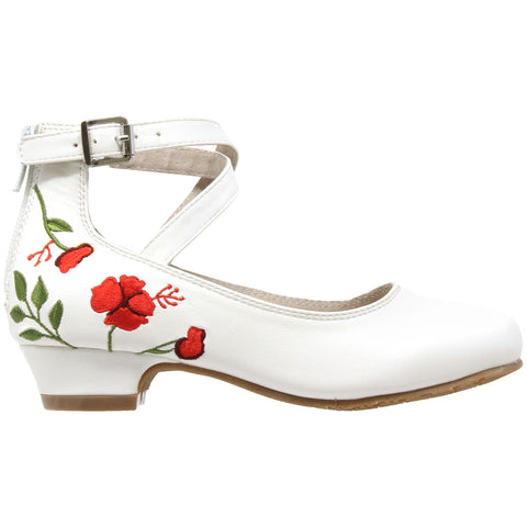 Toddler & Youth Embroidered Flower Mary Jane Pump