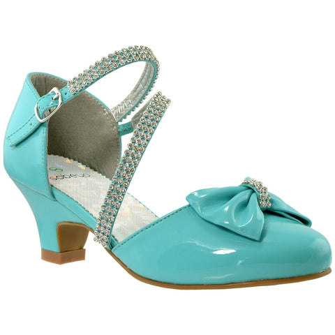 Girls Bow Accent Kitten Heel Pumps Turquoise