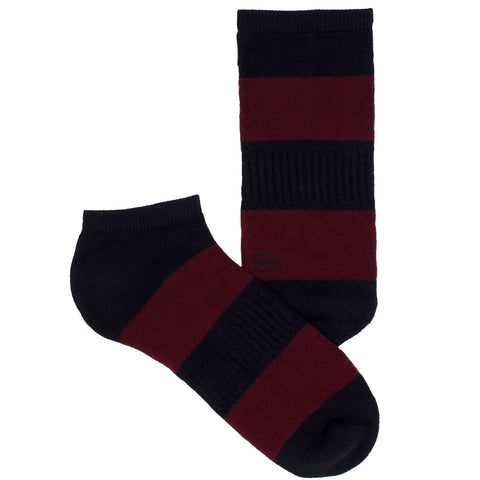 Men's Socks Solid Striped Athletic Perfomance Sport Comfortable No Show Hosiery Burgundy
