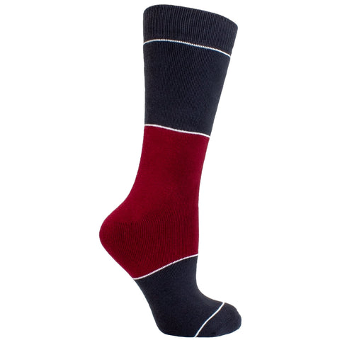 Men's Socks Color Block Striped Athletic Performance Comfortable Mid Calf Crew Socks Burgundy