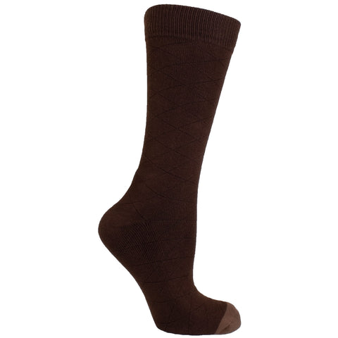 Men's Socks Athletic Performance Sport Diamond Cross Hatch Pattern Mid Calf Crew Socks Brown