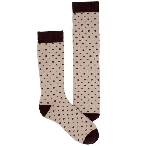 Men's Socks Athletic Performance Sport Small Dots Pattern Mid Calf Crew Socks Brown