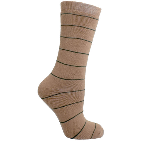 Men's Socks Striped Athletic Sport Comfortable Performance Mid Calf Crew Socks Tan