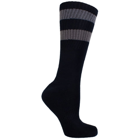 Men's Socks Solid Stripe Athletic Performance Sport Ribbed Mid Calf Crew Socks Black