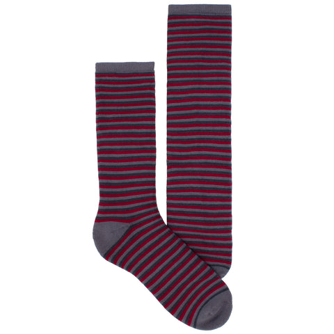 Men's Socks Athletic Performance Hosiery Thin Stripe Mid Calf Crew Socks Red