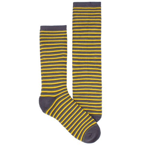 Men's Socks Athletic Performance Hosiery Thin Stripe Mid Calf Crew Socks Yellow