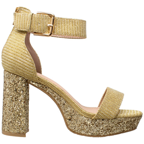 Womens Platform Sandals Open Toe Buckle Ankle Strap Chunky Block Heel Shoes Gold