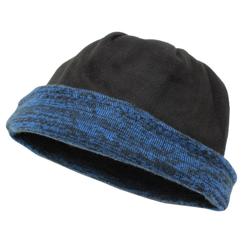 Unisex Reversible Beanie Two-Tone Inner Micro-Fleece Blue / Black