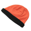 Unisex Reversible Beanie Two-Tone Inner Micro-Fleece Dark Grey / Orange