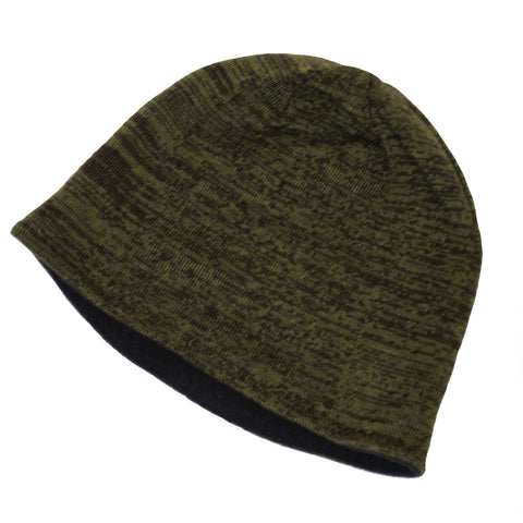 Unisex Reversible Beanie Two-Tone Inner Micro-Fleece Green / Gray
