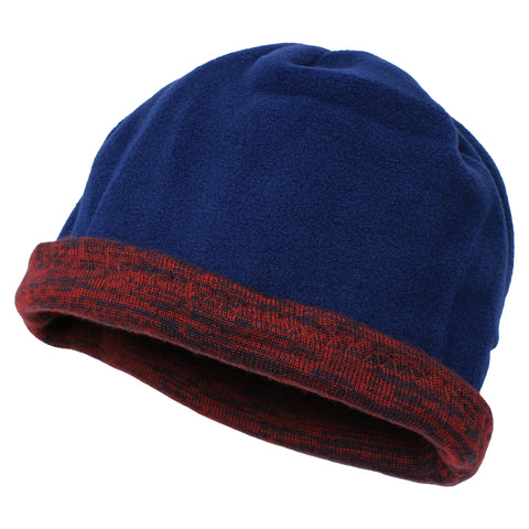 Unisex Reversible Beanie Two-Tone Inner Micro-Fleece Red / Navy