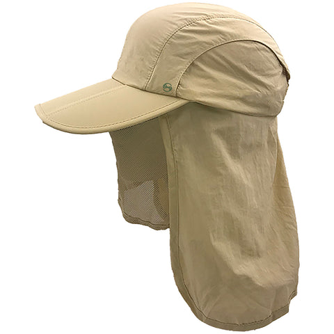 unisex Outdoor Snap Hats Fishing Hiking Boonie Hunting Brim Ear Neck Cover Sun Flap Cap Khaki SOBEYO