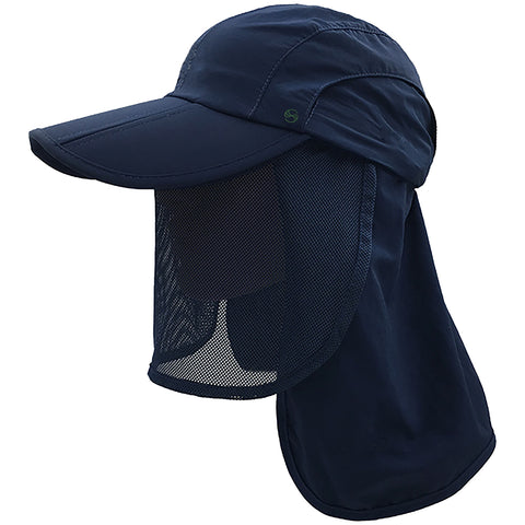 unisex Outdoor Snap Hats Fishing Hiking Boonie Hunting Brim Ear Neck Cover Sun Flap Cap Navy SOBEYO