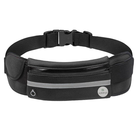SOBEYO Unisex Water Proof Waist Bag Adjustable Strap Buckle Reflective Strip Black