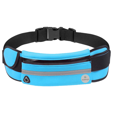 SOBEYO  Unisex Water Proof Waist Bag Adjustable Strap Buckle Reflective Strip Blue