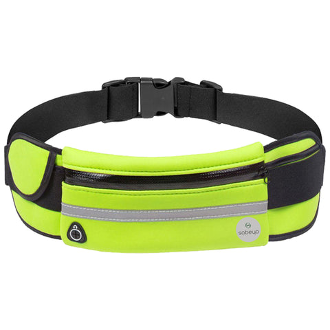 SOBEYO Unisex Water Proof Waist Bag Adjustable Strap Buckle Reflective Strip Green