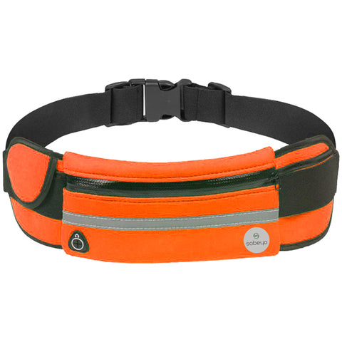 SOBEYO Unisex Water Proof Waist Bag Adjustable Strap Buckle Reflective Strip Orange