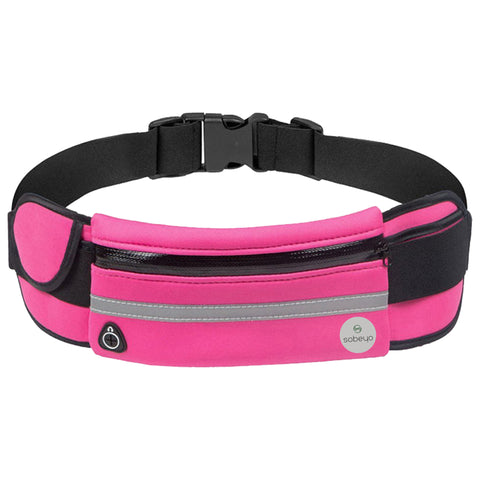 SOBEYO Unisex Water Proof Waist Bag Adjustable Strap Buckle Reflective Strip Pink