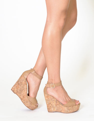 281a69633b33 Womens Embroidered Platform Cork Wedge Ankle Strap Sandals Tan – SOBEYO.COM