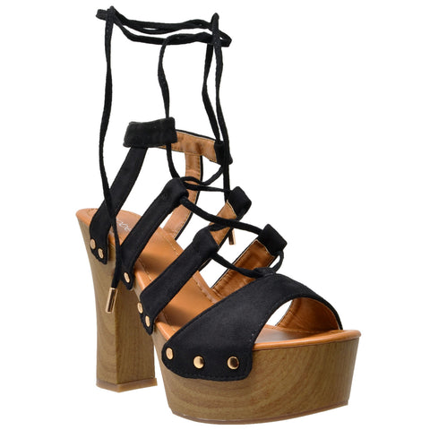 Lace Up Block Heel Platform Sandal