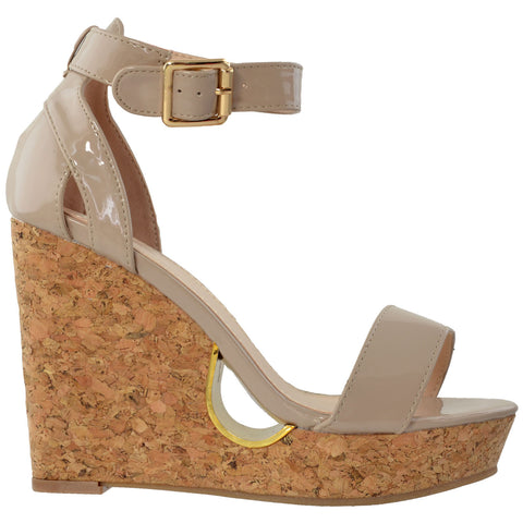 Womens Ankle Strap Cork Wedge Platform Sandals Beige