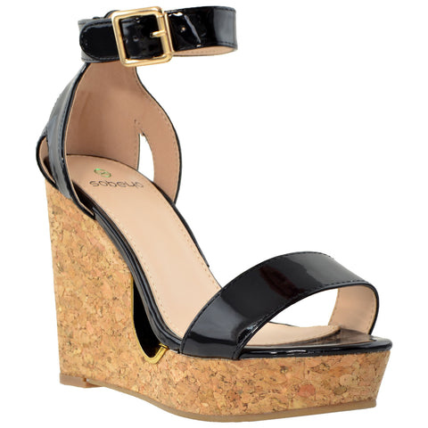 Womens Ankle Strap Cork Wedge Platform Sandals Black