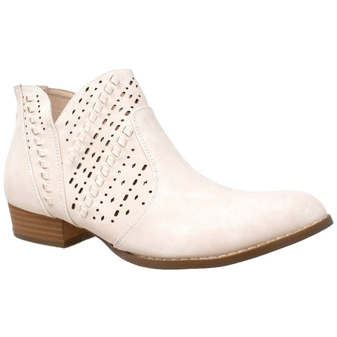 Perforated Block Heel Western Bootie