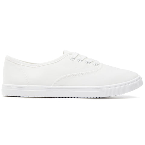 SOBEYO Women's Sneakers Canvas Lace Up Low Top White