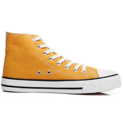 SOBEYO Women's Sneakers Canvas Lace Up High Top Yellow
