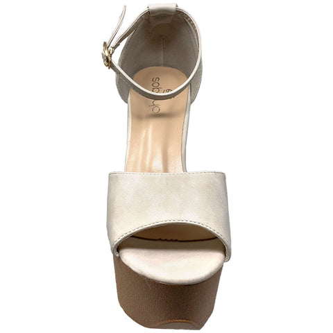 Women's Platform Sandals Chunky Heels One Band Closed Back Ankle Strap Beige Nubuck SOBEYO