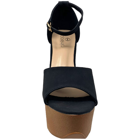 Women's Platform Sandals Chunky Heels One Band Closed Back Ankle Strap Black Nubuck SOBEYO