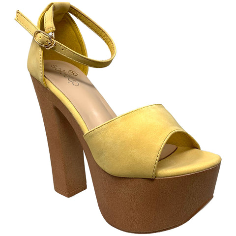 Women's Platform Sandals Chunky Heels One Band Closed Back Ankle Strap Yellow Nubuck SOBEYO