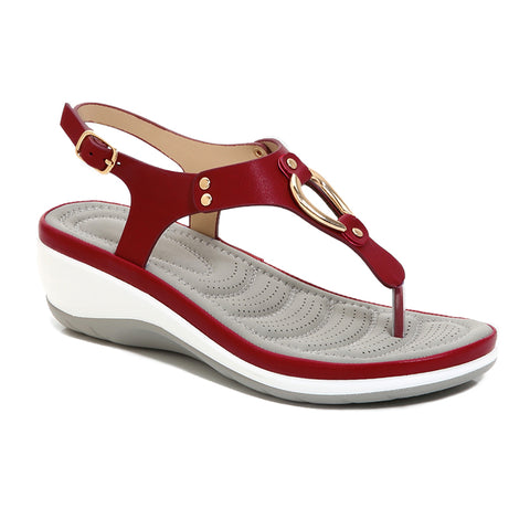 SOBEYO Platform Sandals Thong Gold Buckle T-Strap Sling Back Red