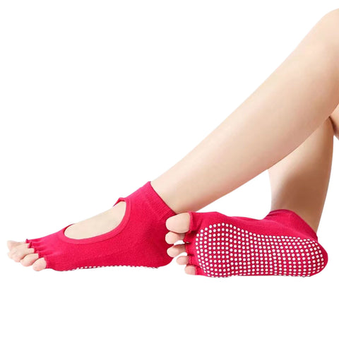SOBEYO Women's Yoga Socks Grip & Non-Slip Open Toes Ballet Workout  Pilates Barefoot Red