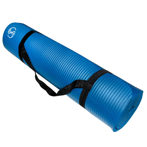Eco-Friendly Yoga Mats 72 x 24 x 1/2-Inch Extra Thick /w Carrying Strap Blue